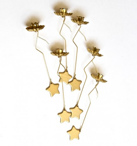Pendulum Christmas Tree Candle Holders - Gold, with Star Weight