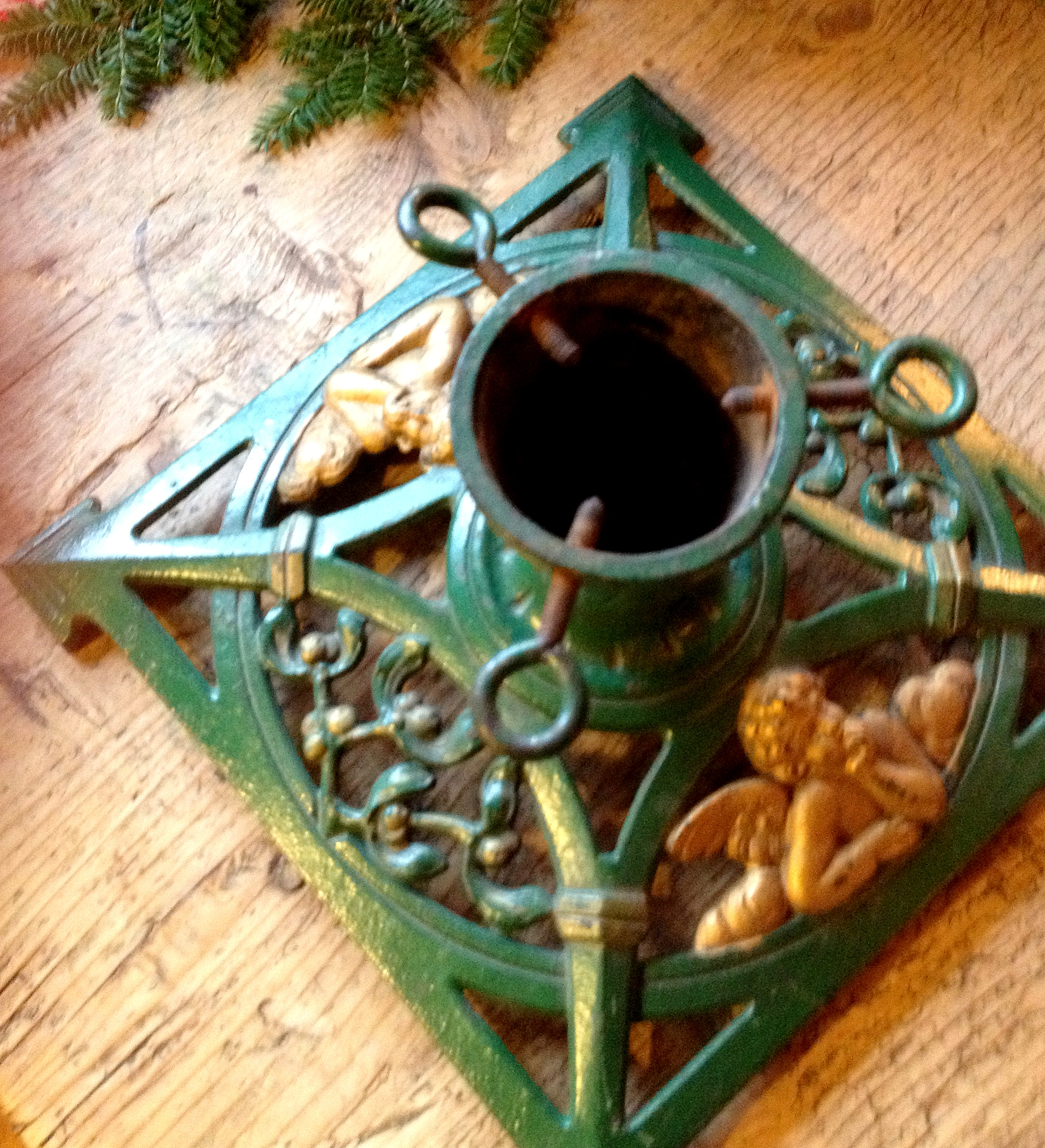 Antique Christmas Tree Stand Decorations : Vintage christmas tree stand with cherub gifts