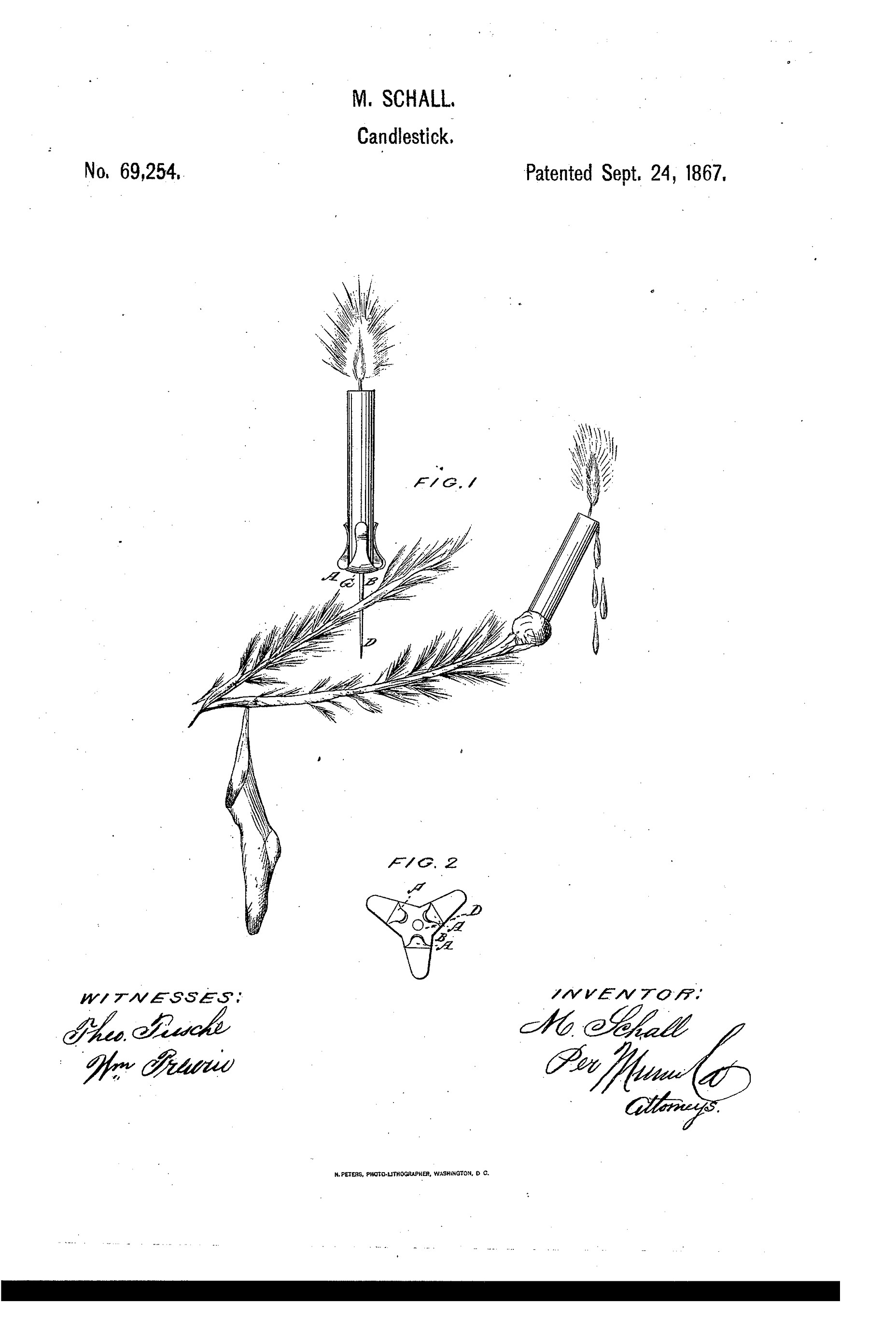 christmas tree candle holder 1867 patent