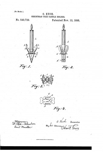 Clip-On Christmas Tree Candle Holder - 1895 Patent