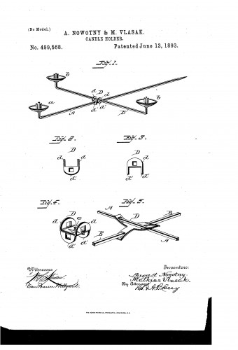 Holder for Christmas Tree candles - 1893 Patent