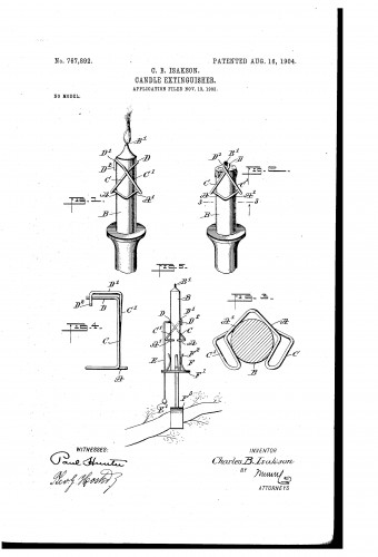 Christmas Tree Candle Holder with Extinguisher - Historic Patent